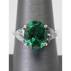 Women's Sterling Silver 925 Ring with Green & Whit